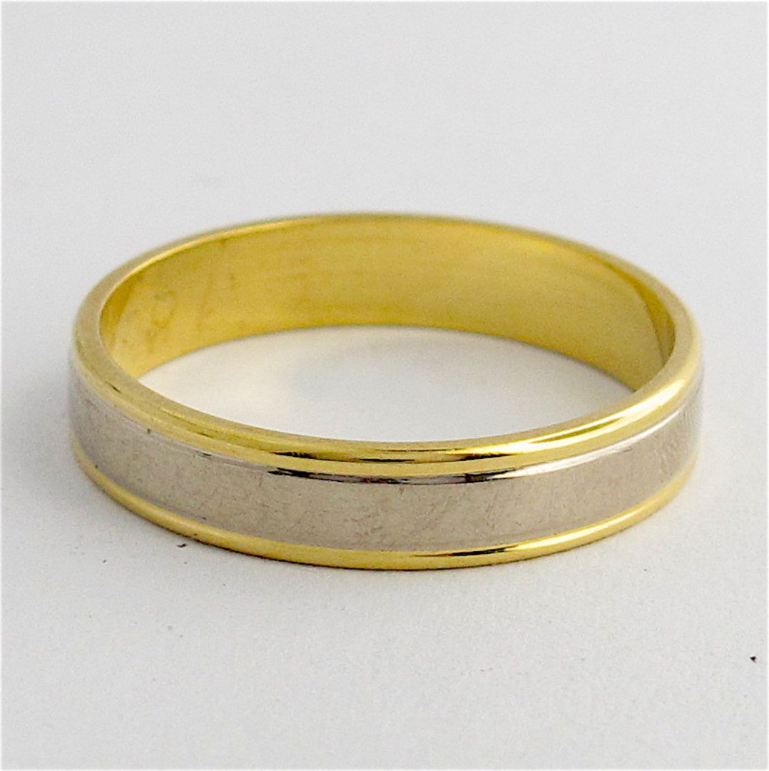 18ct yellow & white gold band image 0