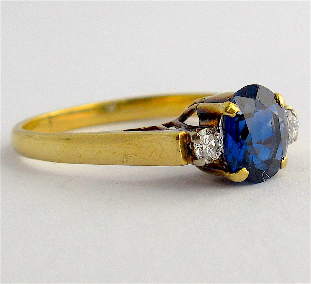 18ct yellow and white gold natural blue sapphire and diamond ring image 1
