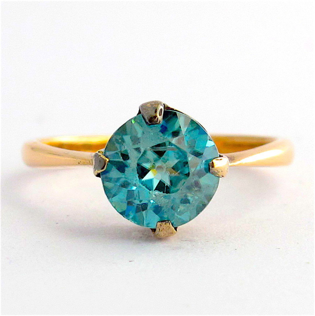 9ct rose gold blue zircon ring image 0