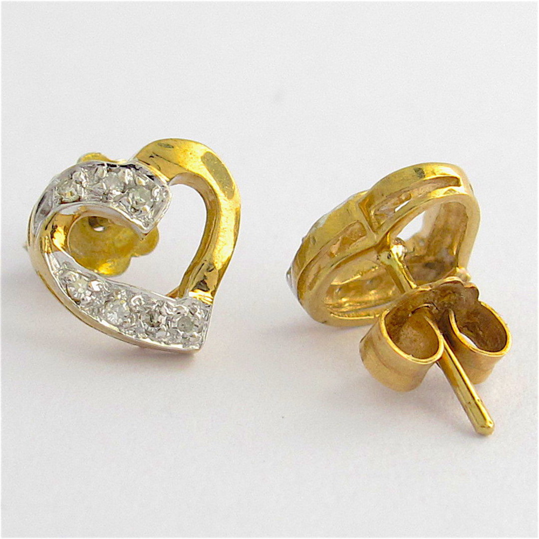 9ct yellow gold and rhodium plated heart shape diamond stud earrings image 1