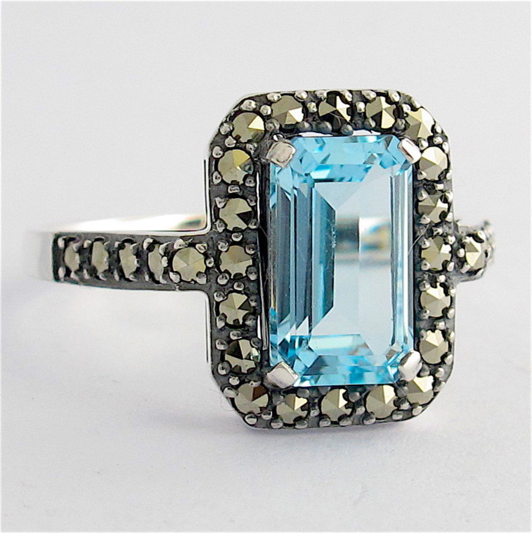 Sterling silver emerald cut blue topaz and marcasite ring image 0