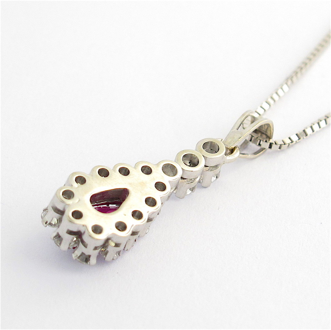 18ct white gold ruby and diamond pendant with chain image 3