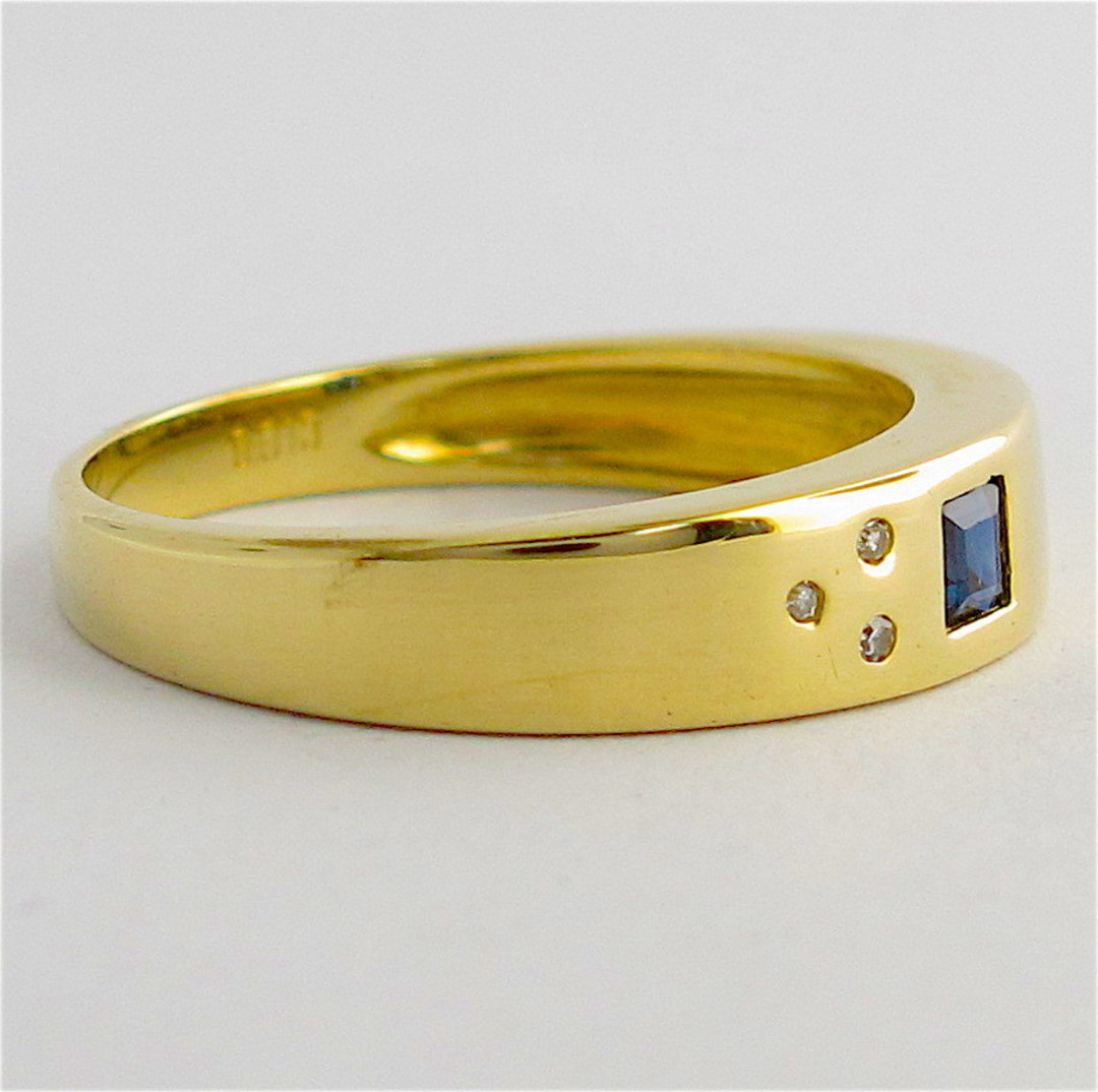 14ct yellow gold sapphire and diamond ring image 1
