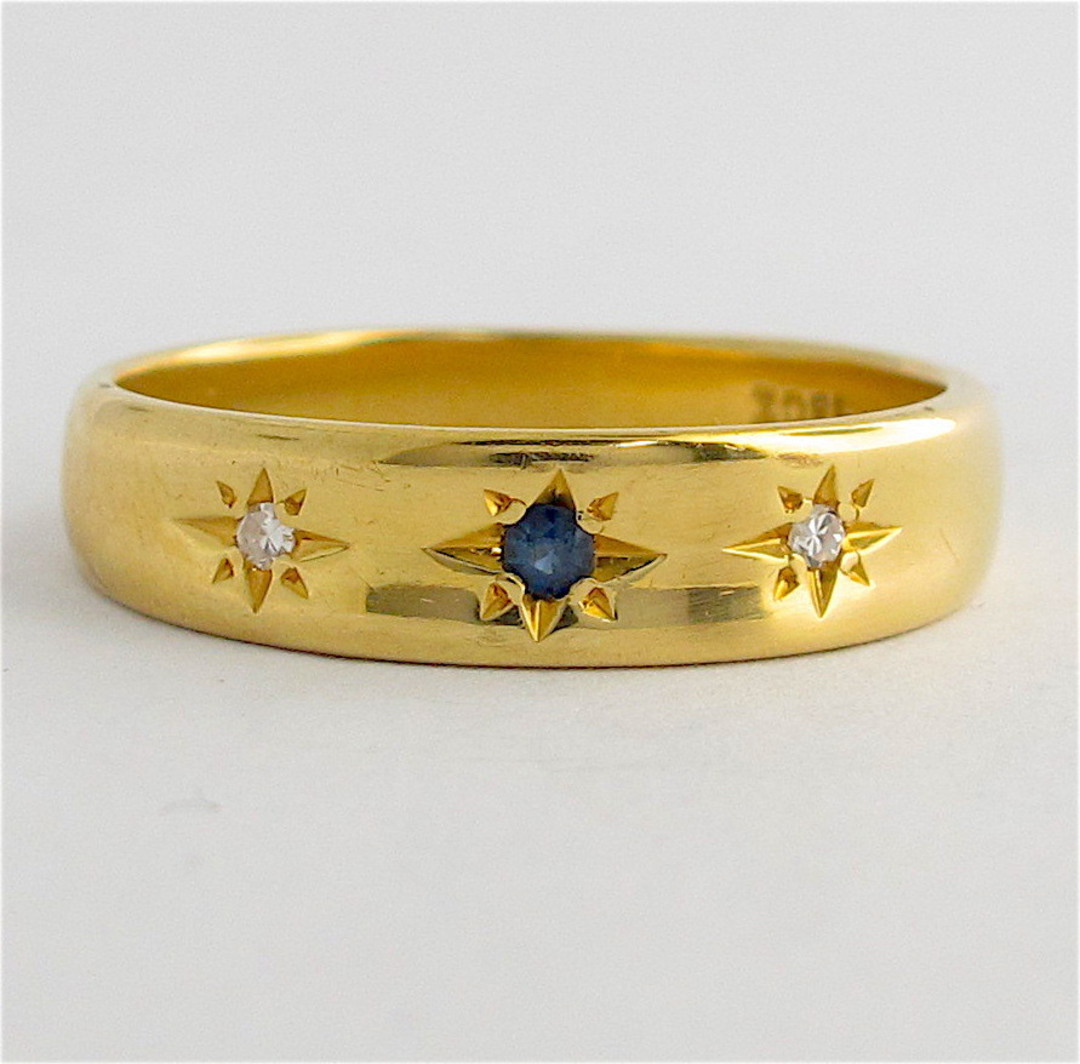 18ct yellow gold diamond and sapphire band image 0