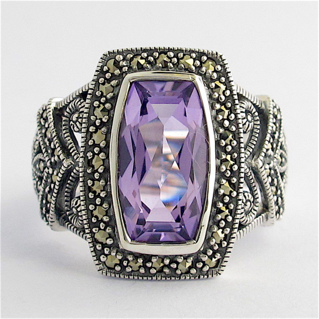 Sterling silver amethyst and marcasite ring image 0