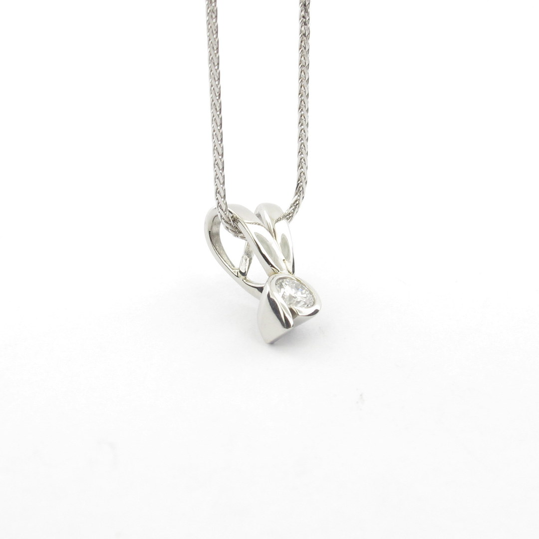 Platinum diamond set pendant with 18ct white gold chain image 2