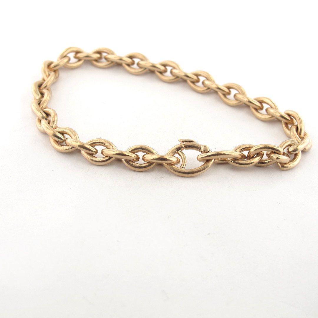 9ct yellow matte gold oval link bracelet image 1