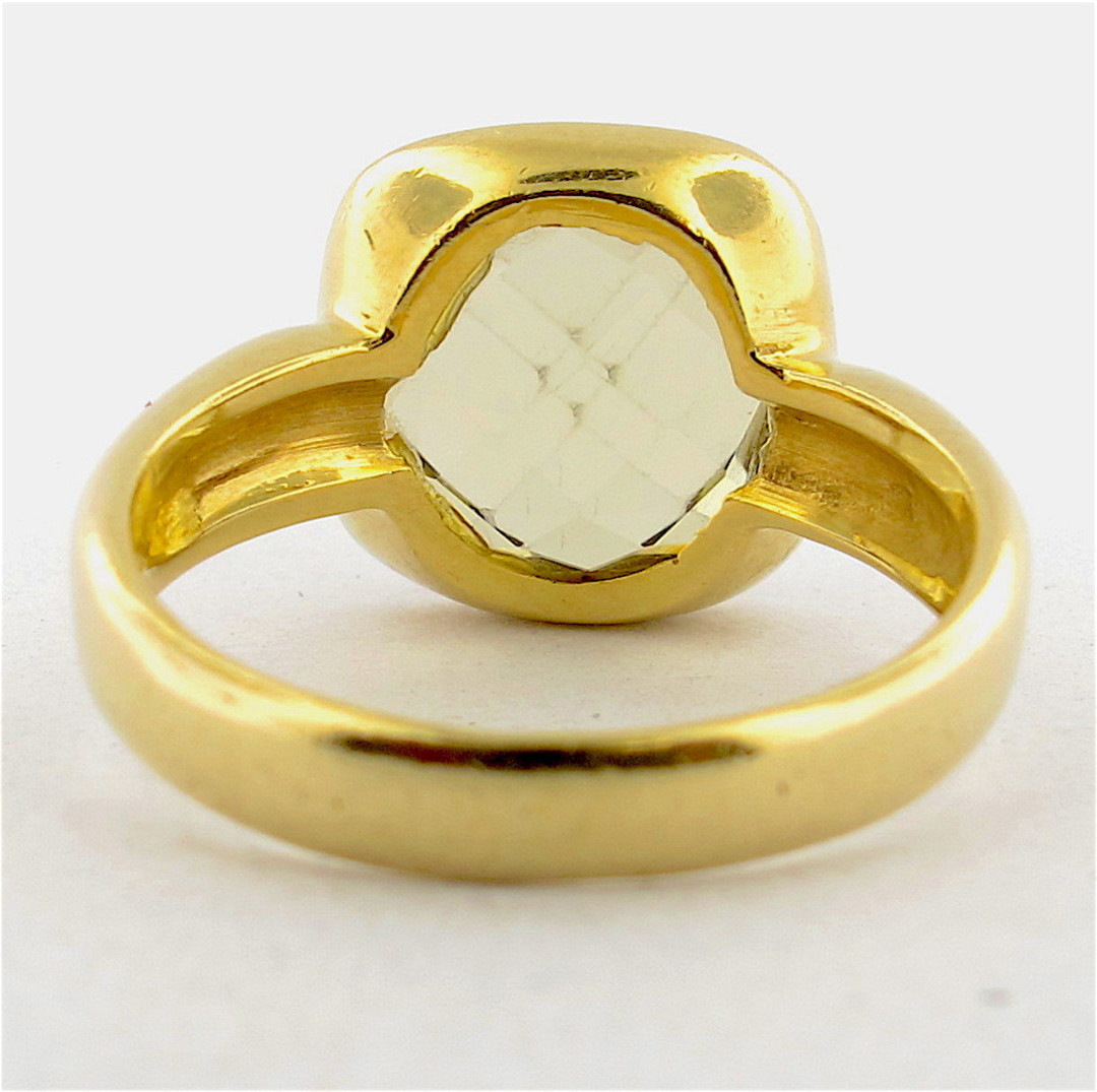 18ct yellow gold checkerboard cut citrine dress ring image 1