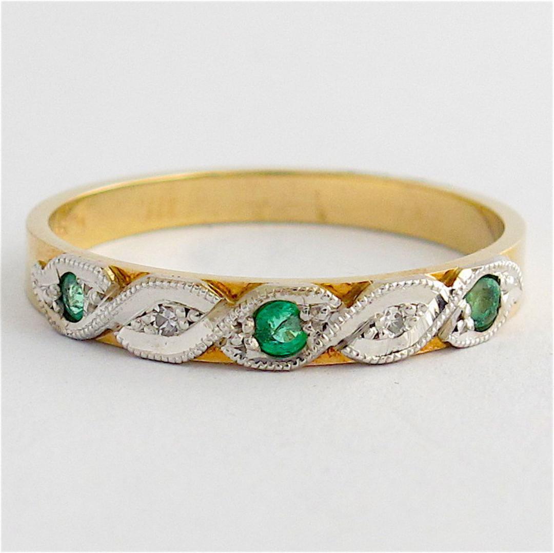 9ct yellow & white gold emerald and diamond band image 0