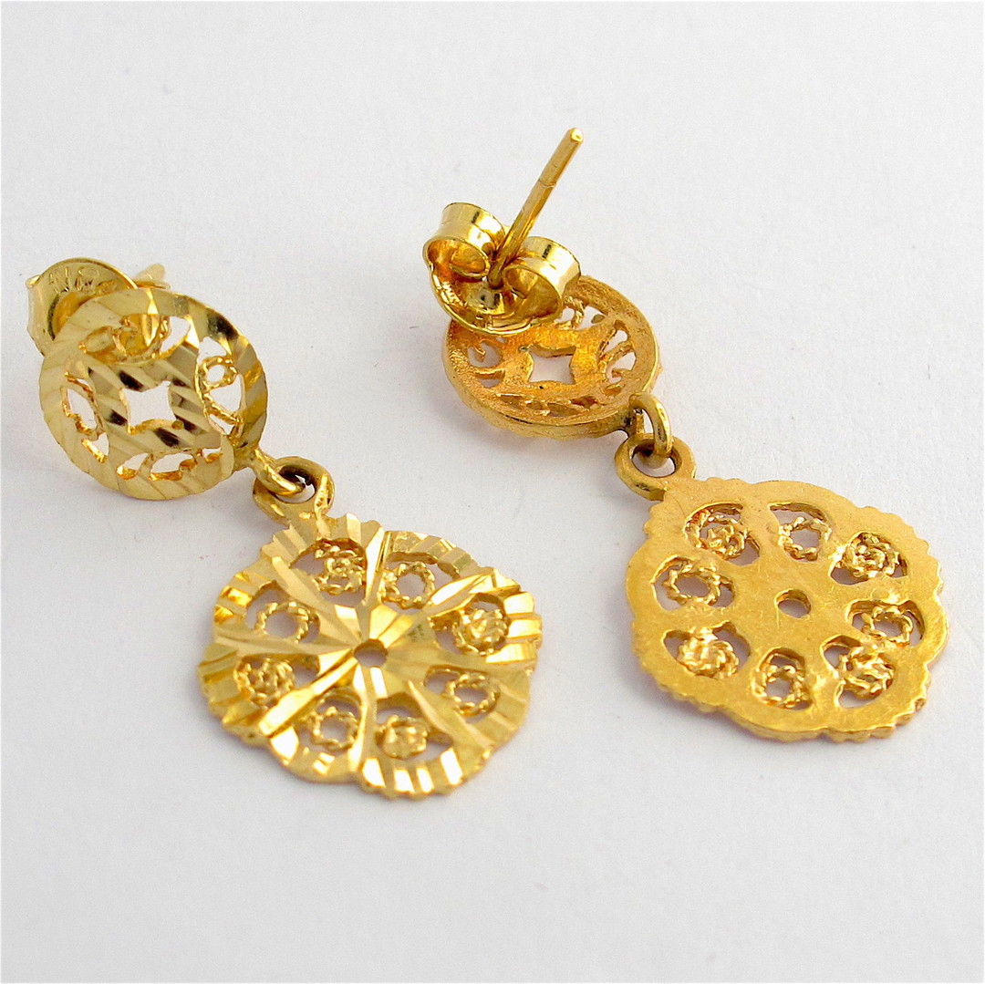 14ct yellow gold disc style dangle stud earrings image 1