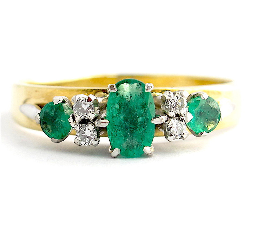 9ct yellow gold and palladium emerald and diamond ring image 1