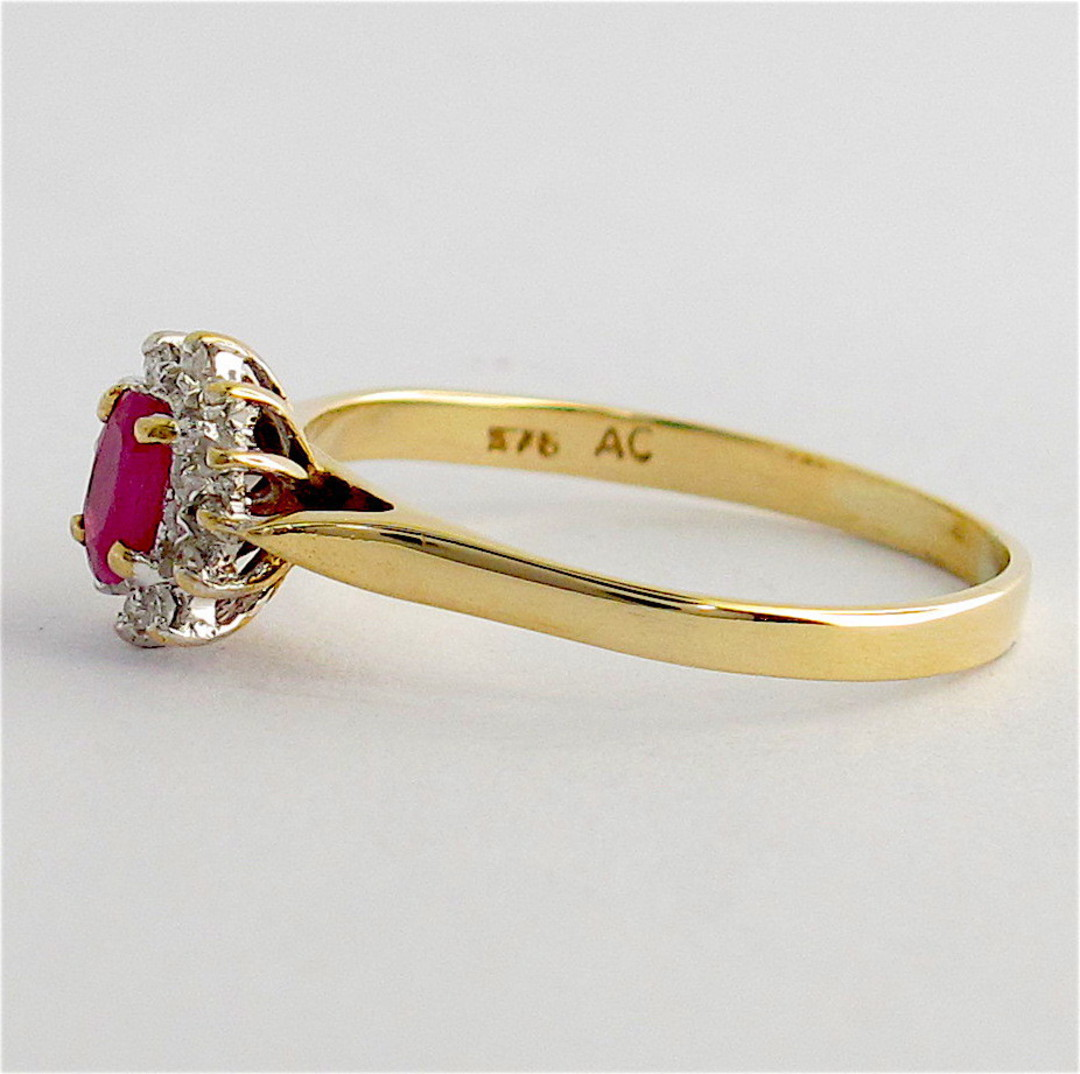 9ct yellow and white gold ruby and diamond cluster ring image 1