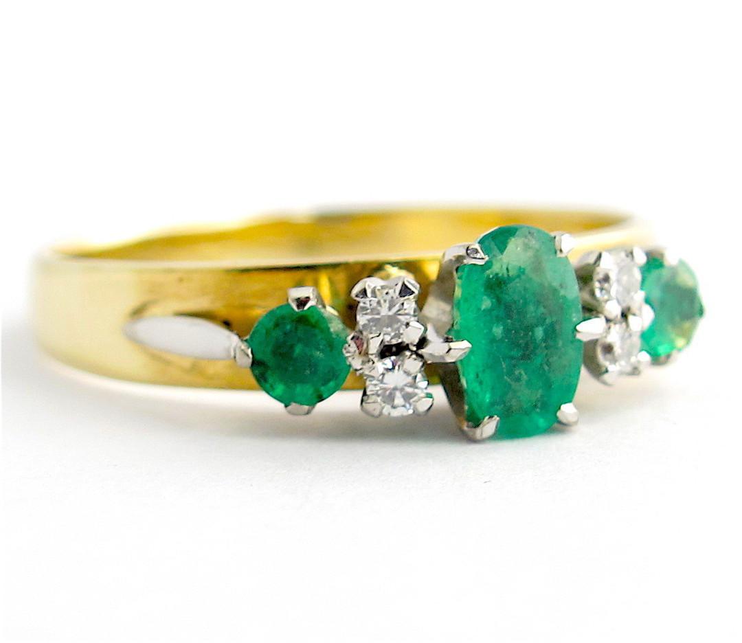9ct yellow gold and palladium emerald and diamond ring image 0