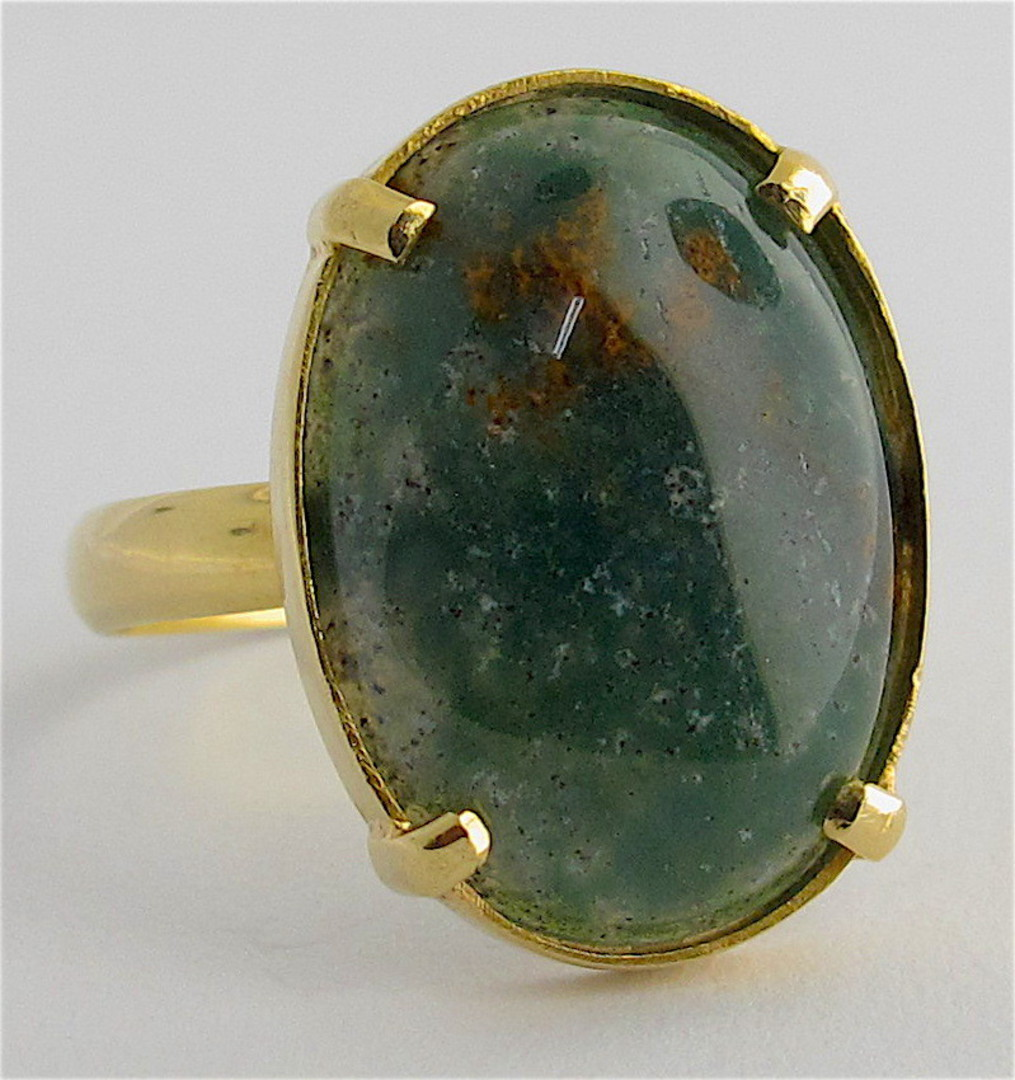 18ct yellow gold moss agate stone ring image 0