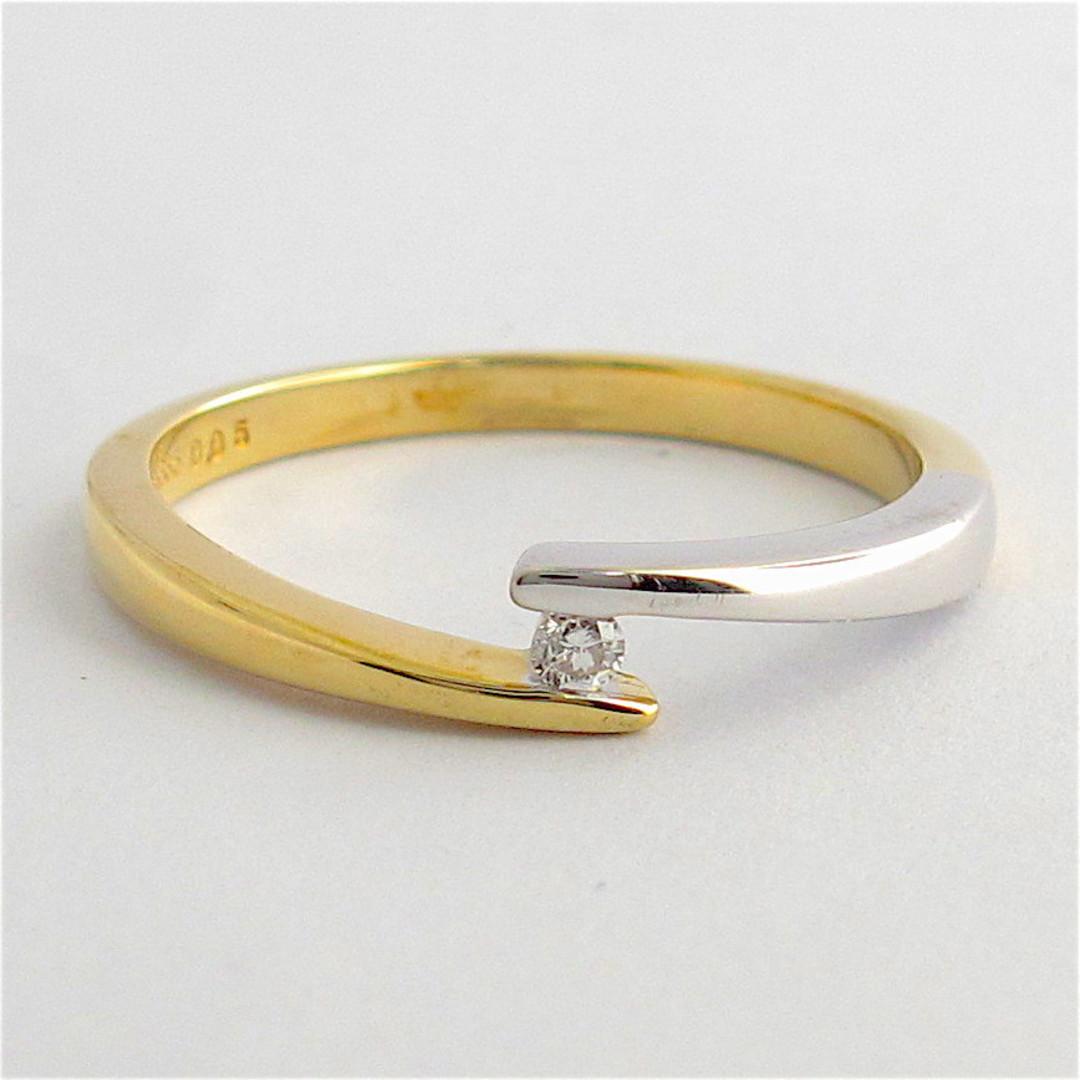 14ct bi-tonal gold solitaire diamond fancy ring image 0