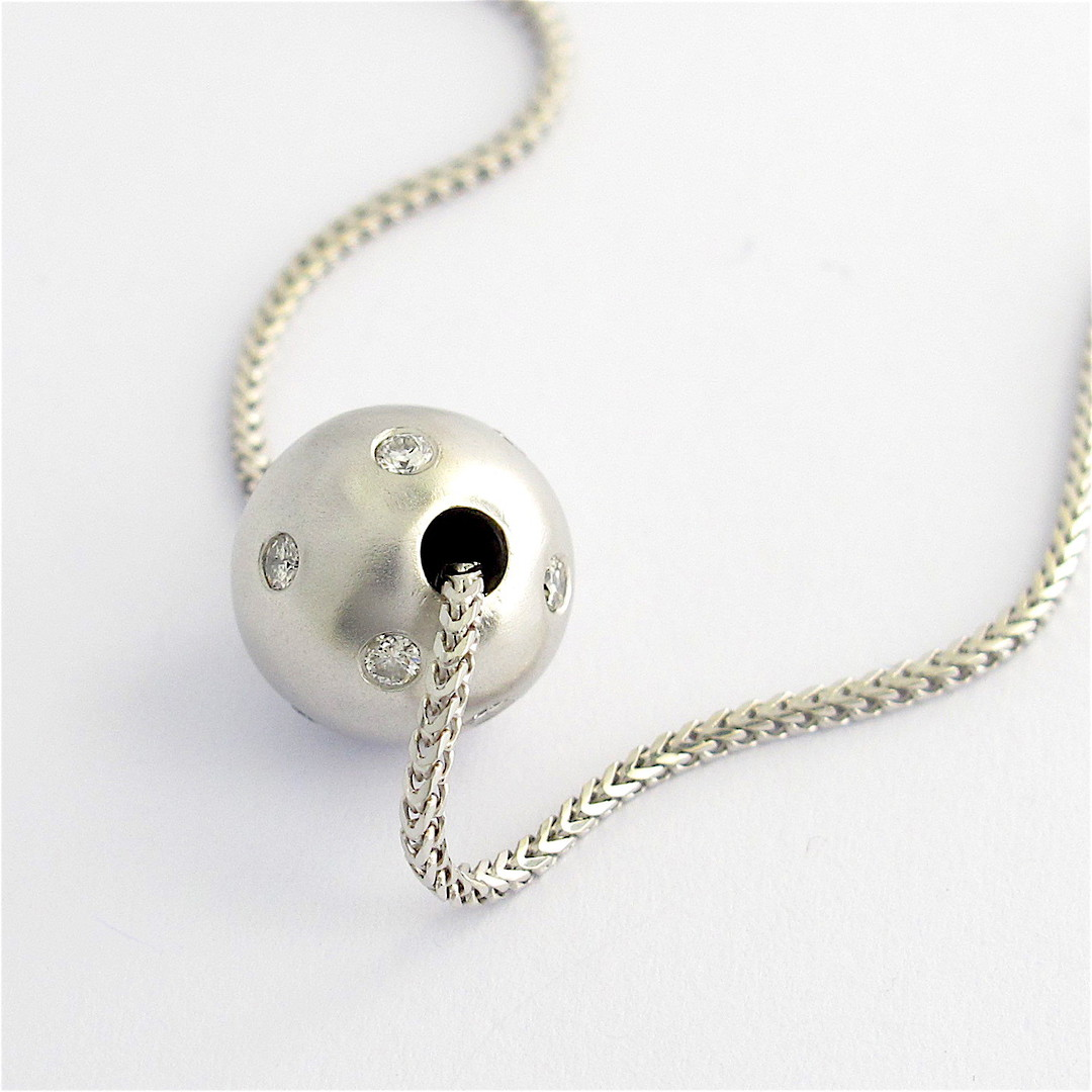 18ct white gold diamond ball pendant and chain image 2
