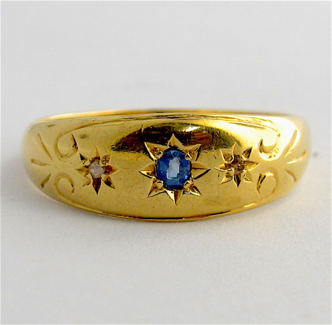 18ct yellow gold sapphire and diamond vintage style ring image 0