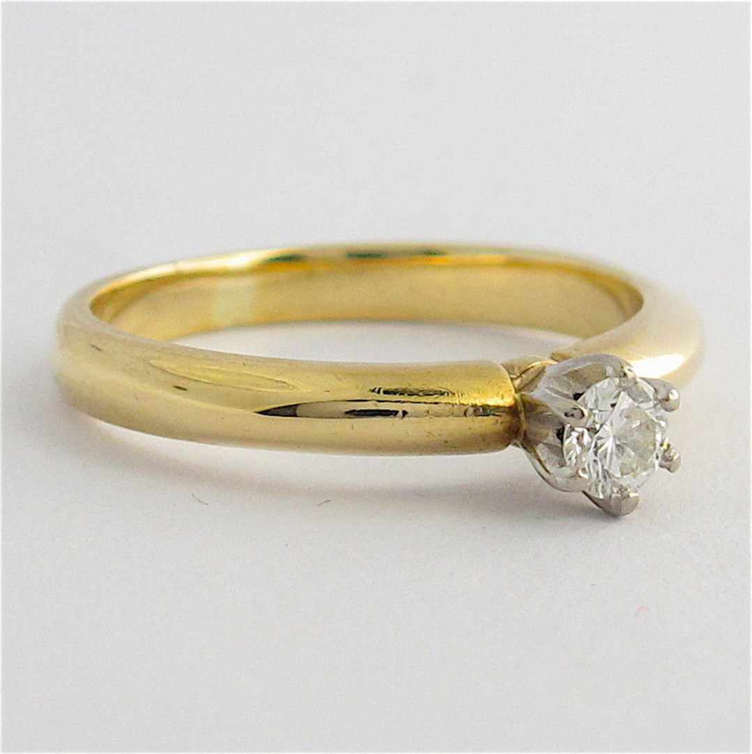 9ct yellow & white gold diamond solitaire ring image 1