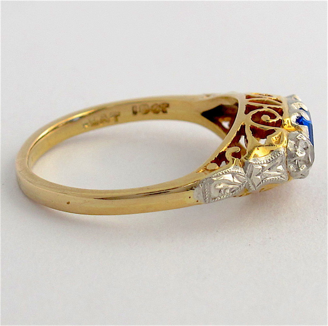 18ct yellow gold & platinum zircon and synthetic sapphire ring image 1