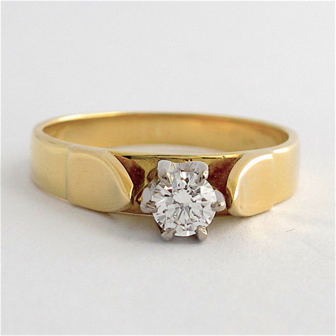 18ct yellow and white gold vintage diamond solitaire ring image 0