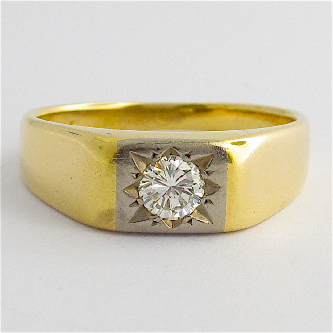 18ct yellow and white gold gents diamond set ring image 0