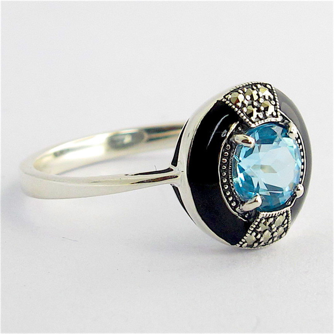 Sterling silver blue topaz, marcasite and enamel dress ring image 1