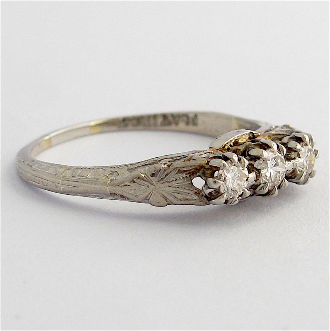 18ct white gold and platinum vintage three stone diamond set ring image 1
