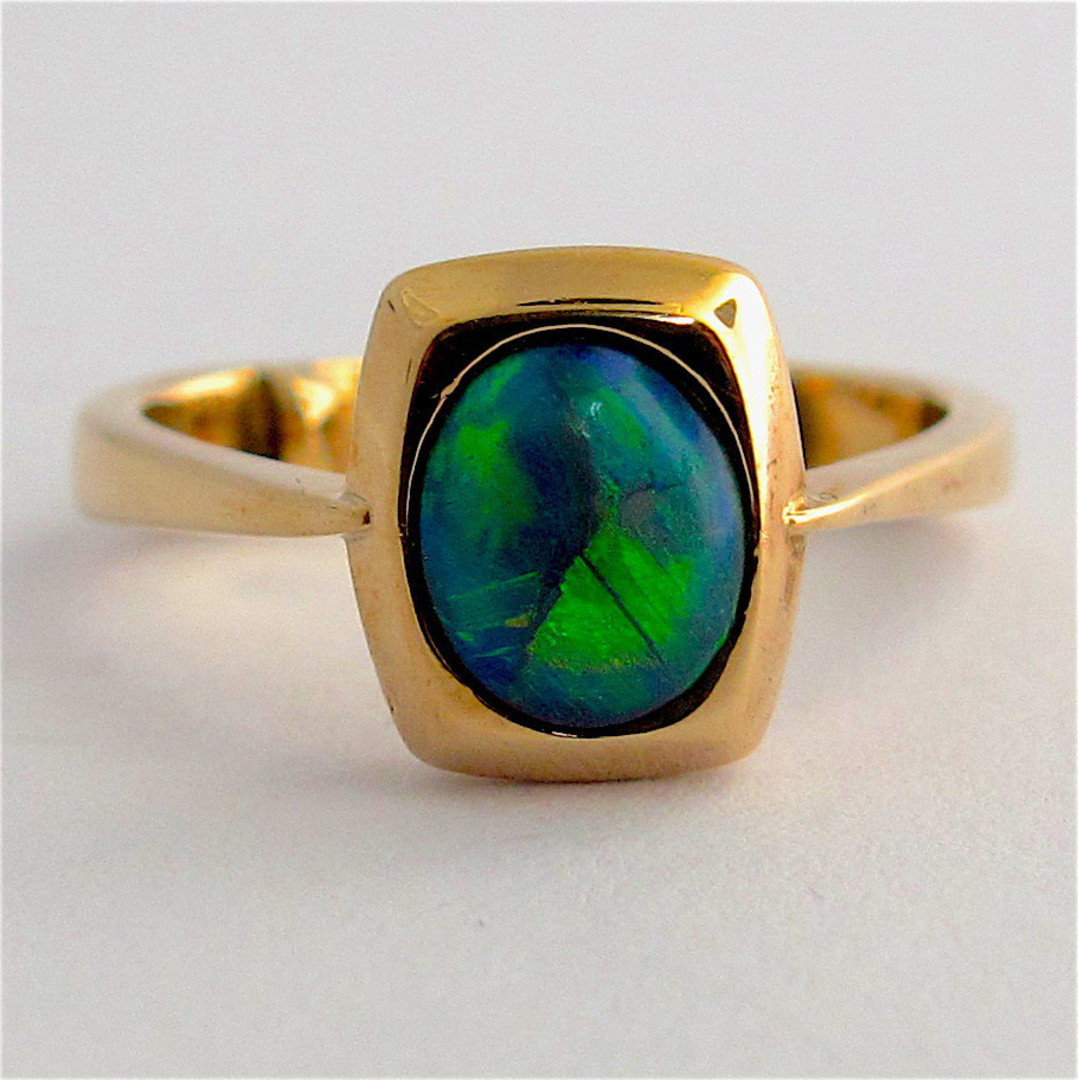 9ct yellow gold solid black opal ring image 0
