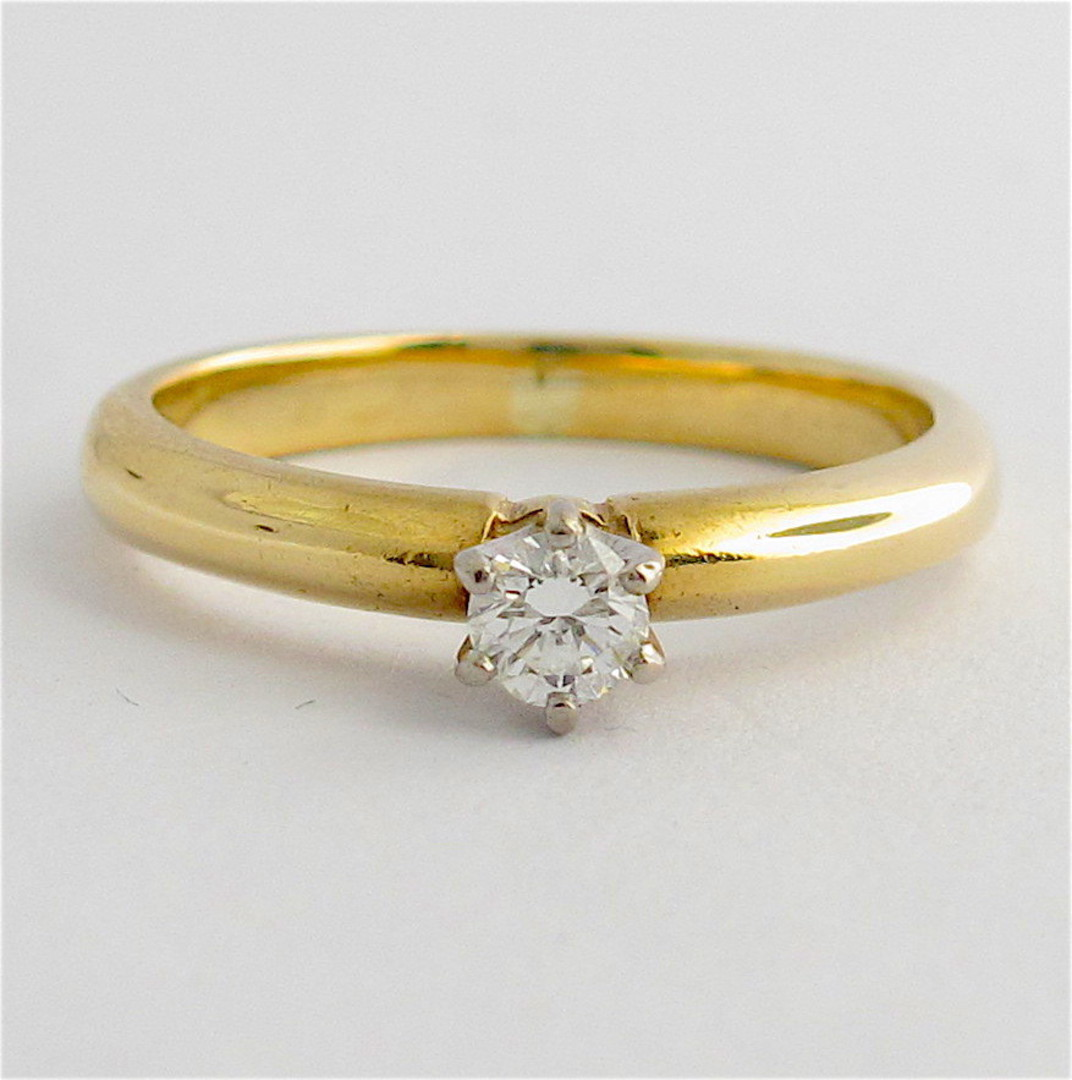 9ct yellow & white gold diamond solitaire ring image 0