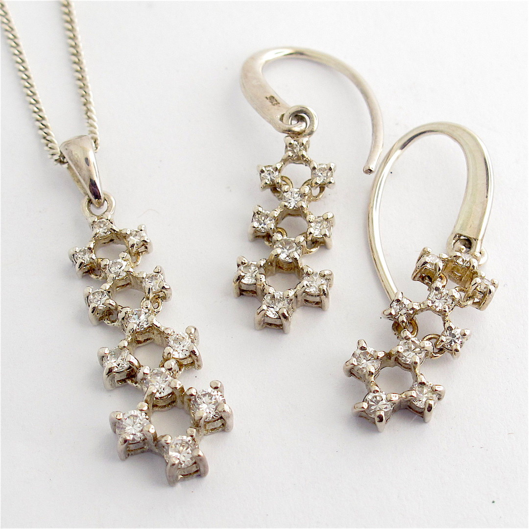 Sterling silver and cubic zirconia pendant and earrings set image 0