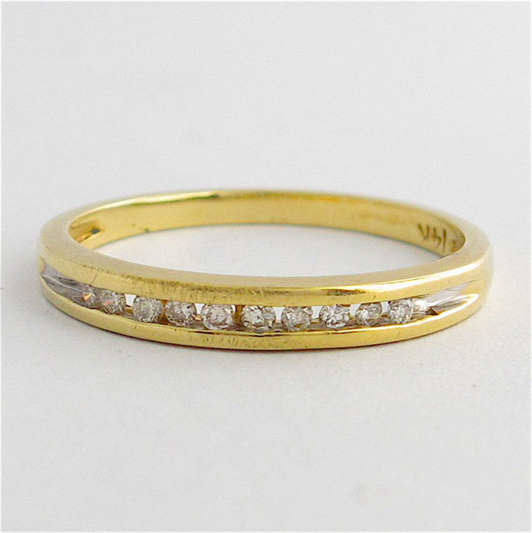 14ct yellow gold channel set diamond band image 0