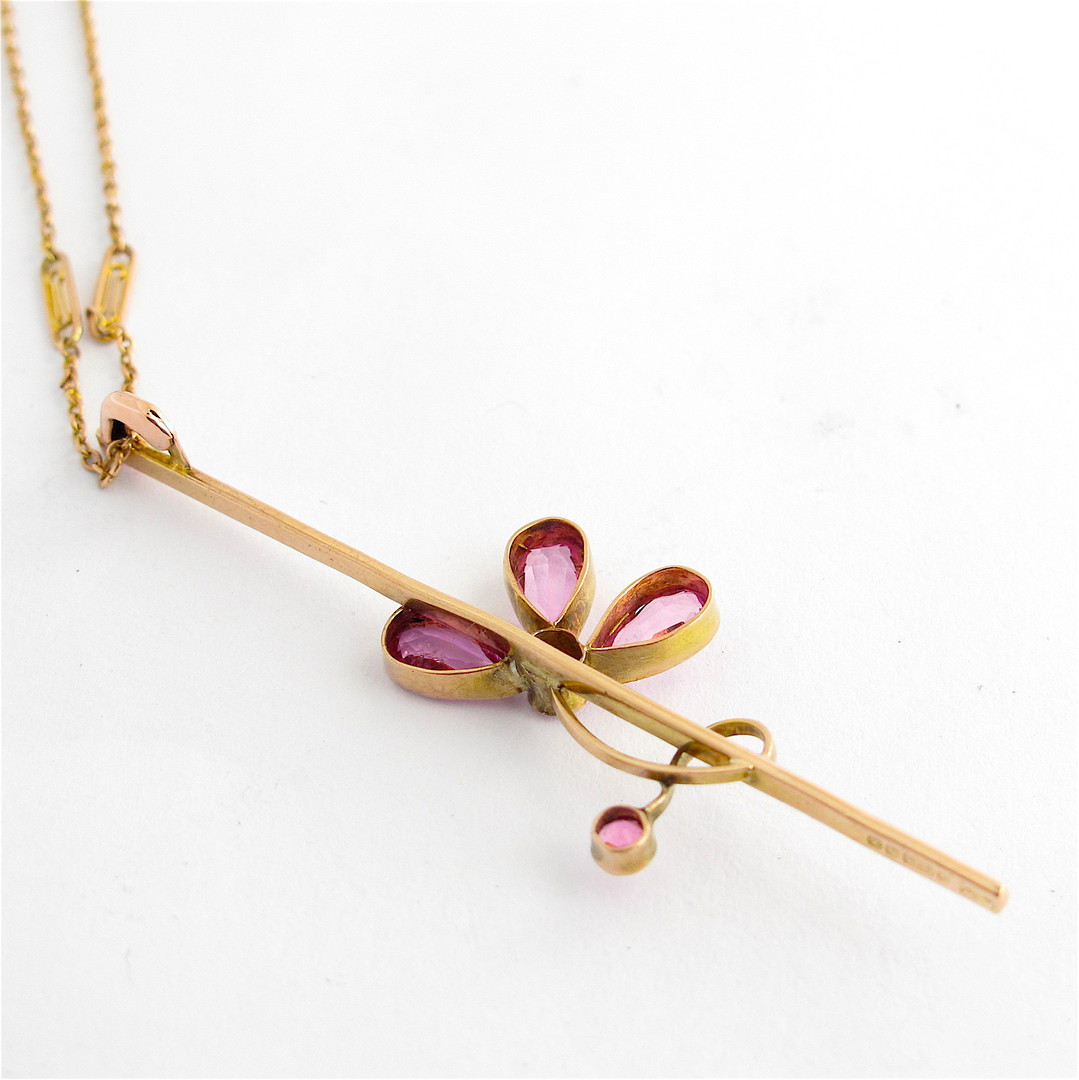 9ct rosey gold vintage pink tourmaline pendant and 9ct yellow gold chain image 1