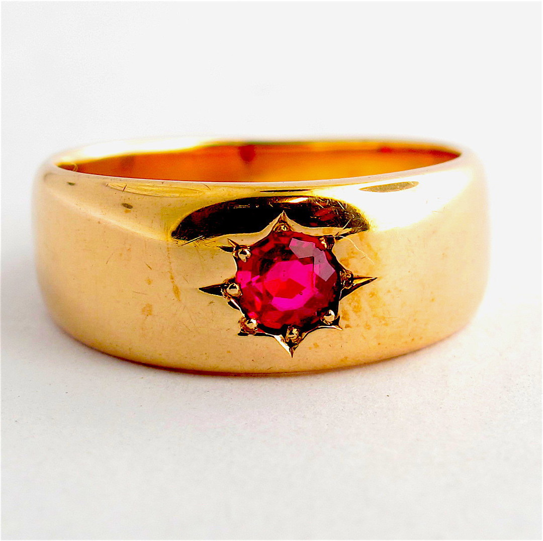 9ct rose gold antique synthetic ruby ring image 0