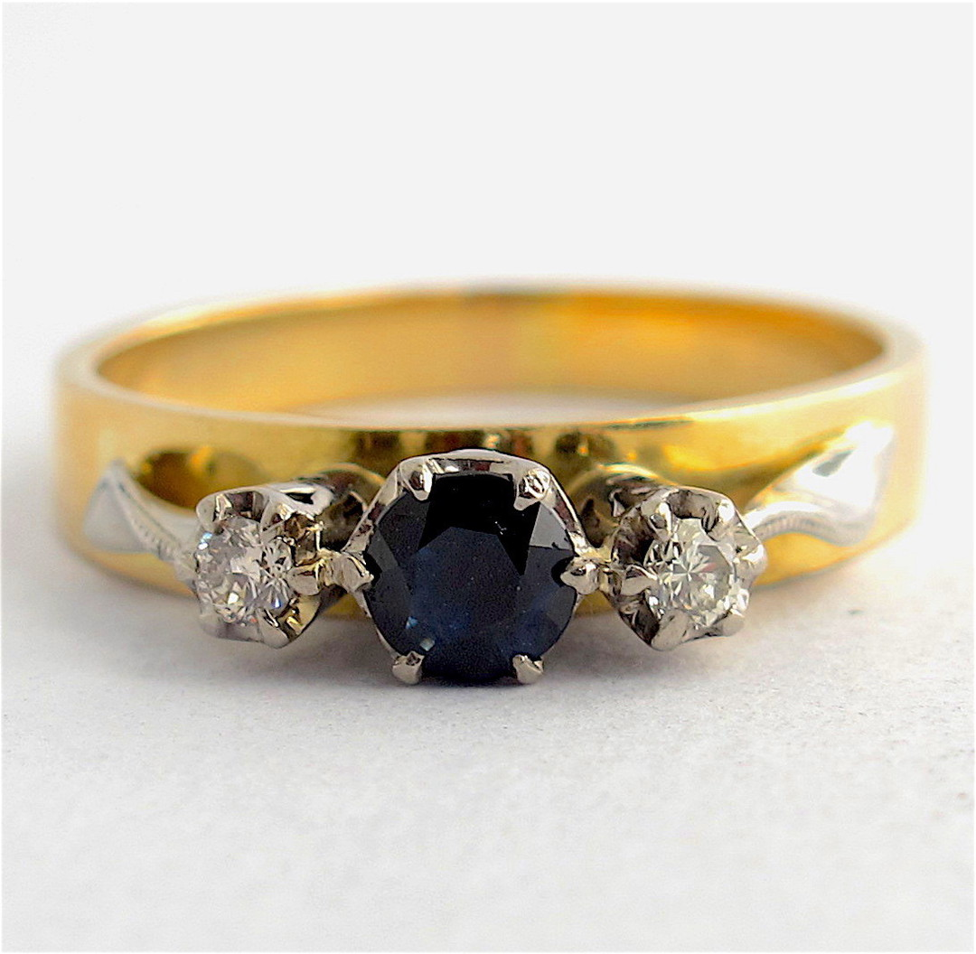 18ct yellow & white gold sapphire and diamond 3 stone ring image 0