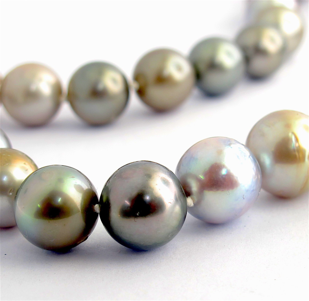 Graduated South Sea black cultured pearl necklace image 2