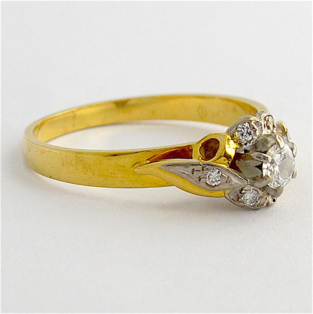 18ct yellow/white gold vintage diamond cluster ring image 1