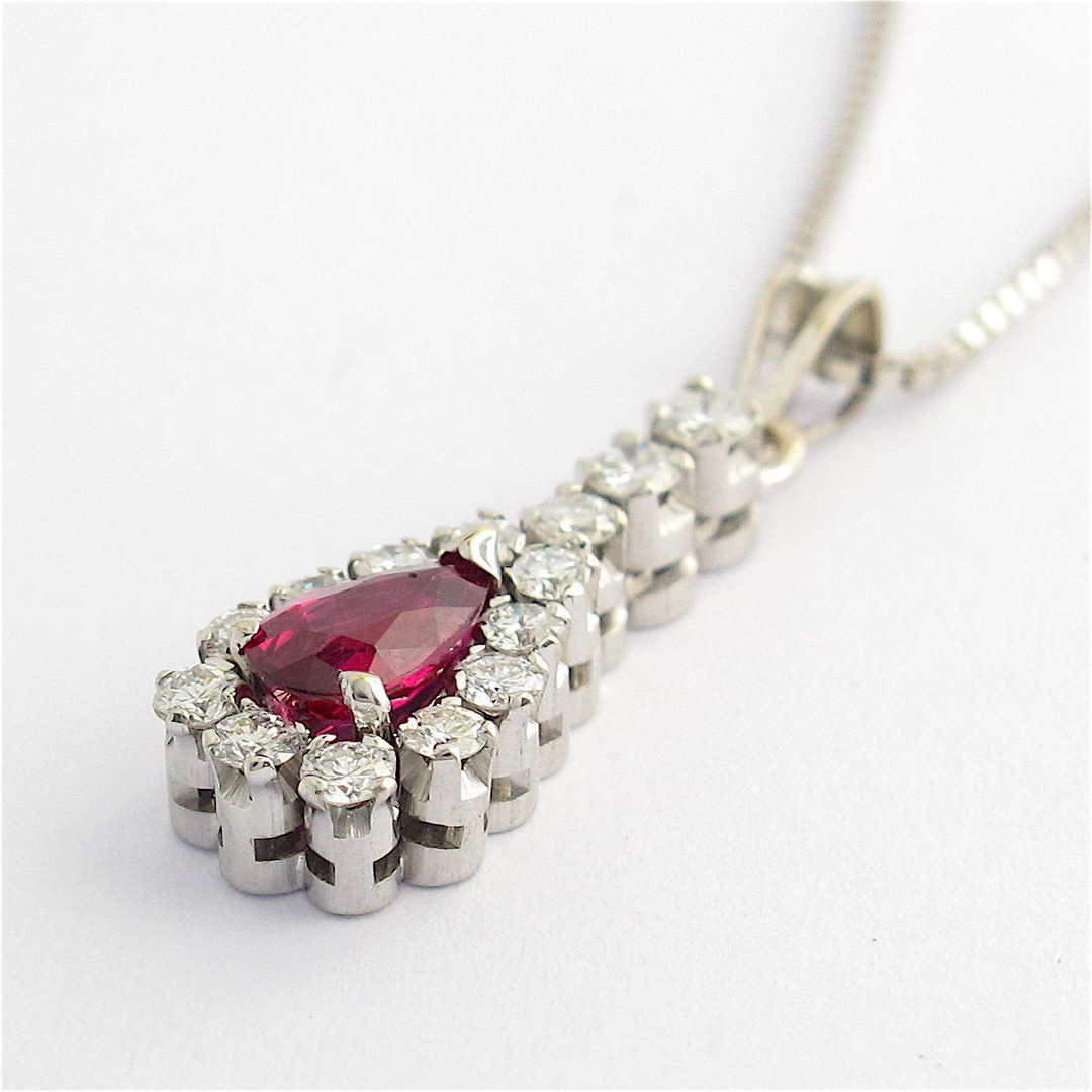 18ct white gold ruby and diamond pendant with chain image 2