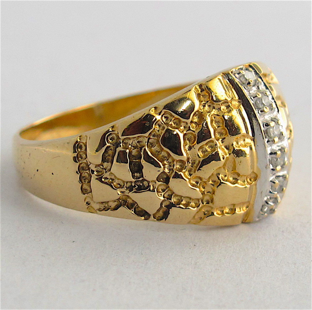 14ct yellow gold dome style diamond dress ring image 1