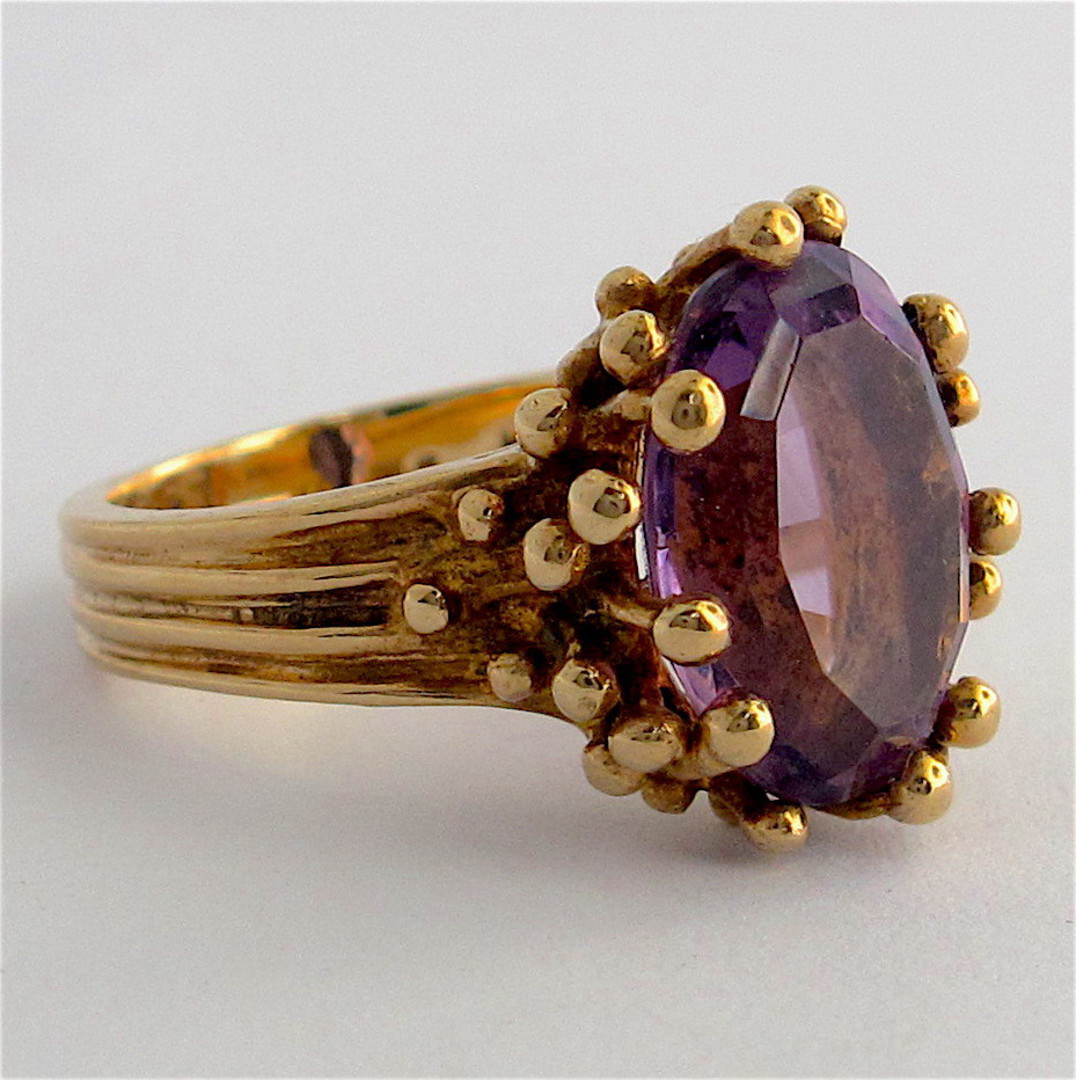 9ct yellow gold fancy amethyst set ring image 1