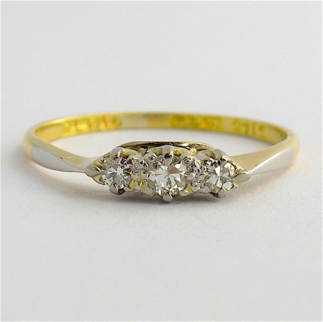 18ct yellow gold and platinum 3 stone diamond ring image 0