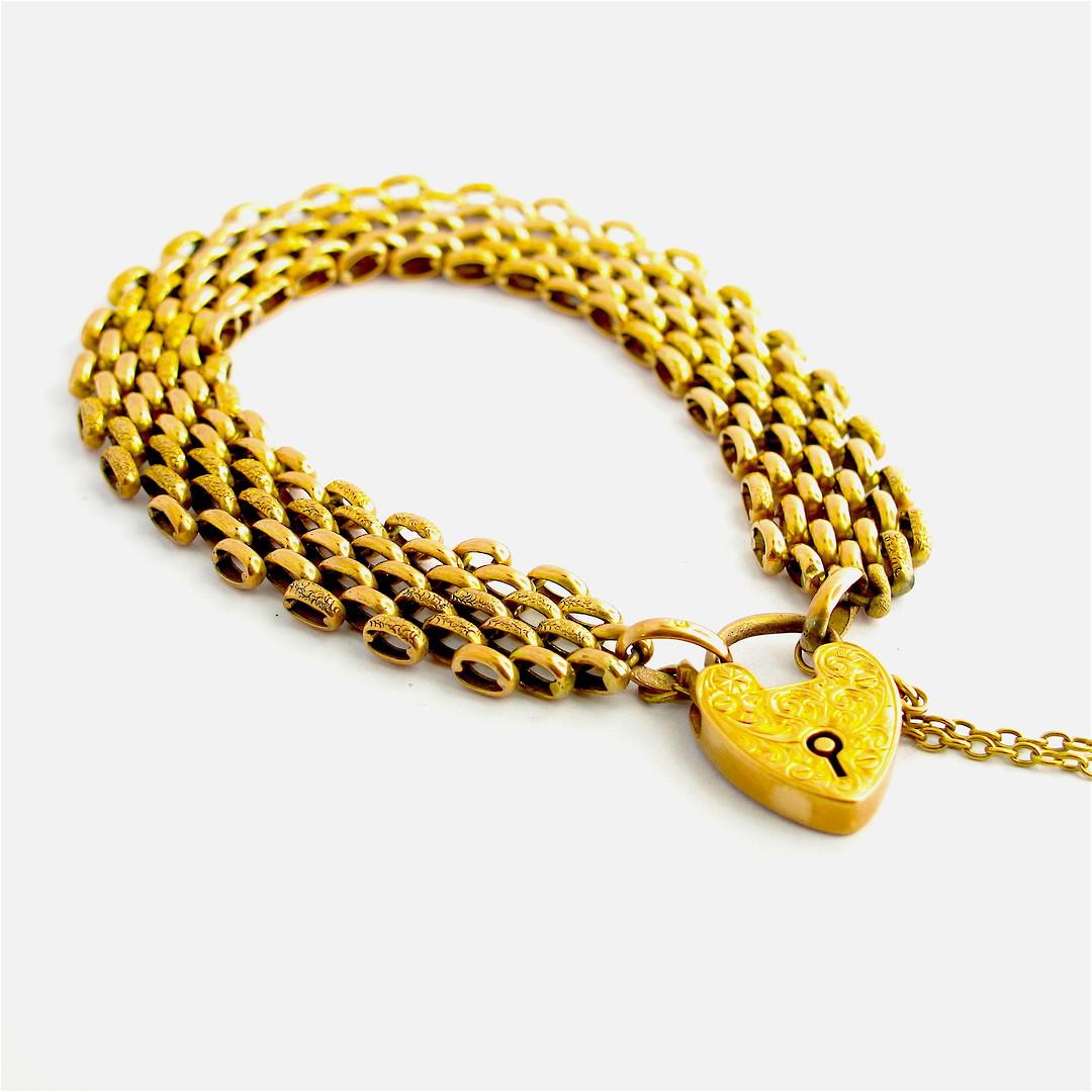 9ct rose gold antique engraved heart padlock bracelet image 0