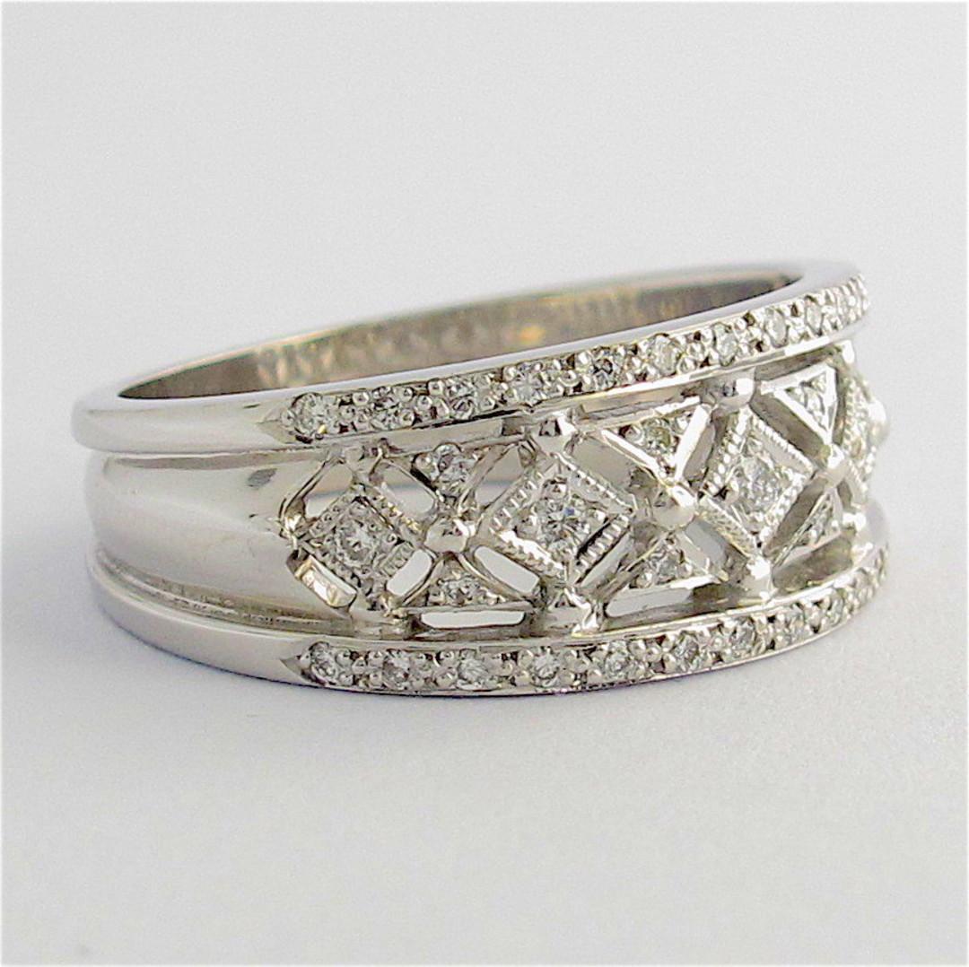 18ct white gold multi diamond band style ring image 1