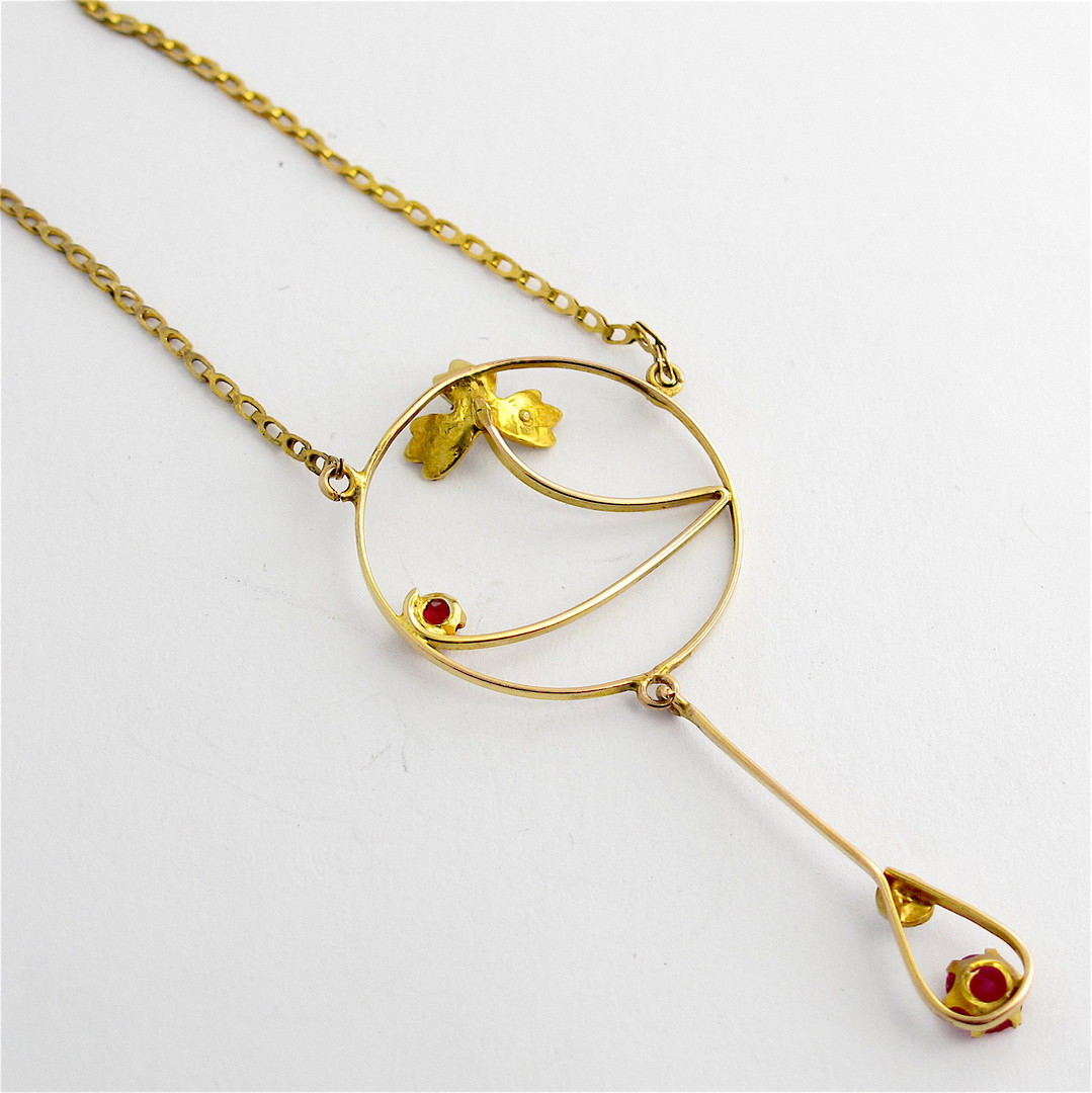Antique 9ct yellow gold gem set necklace image 2