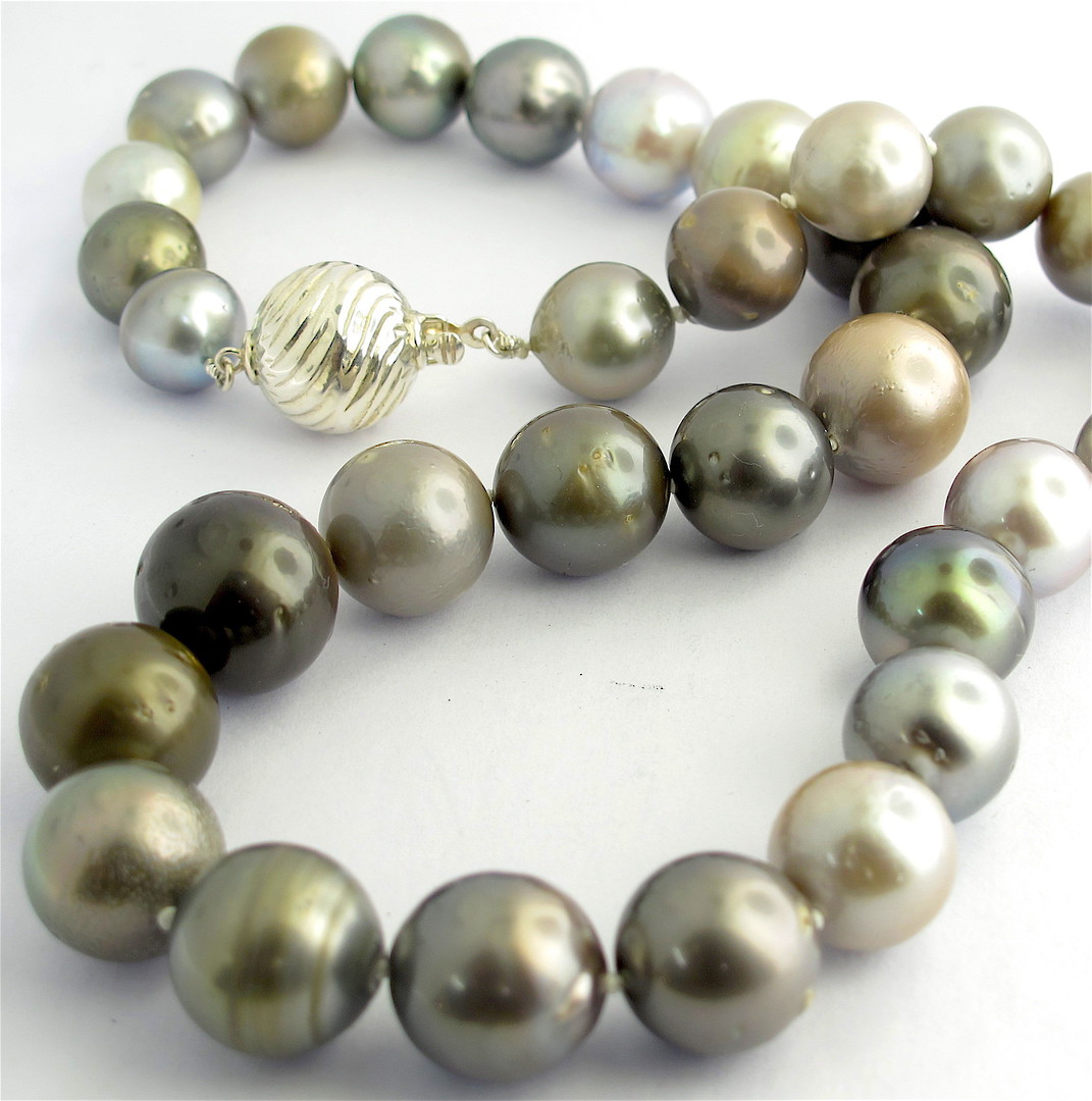 Graduated South Sea black cultured pearl necklace image 0