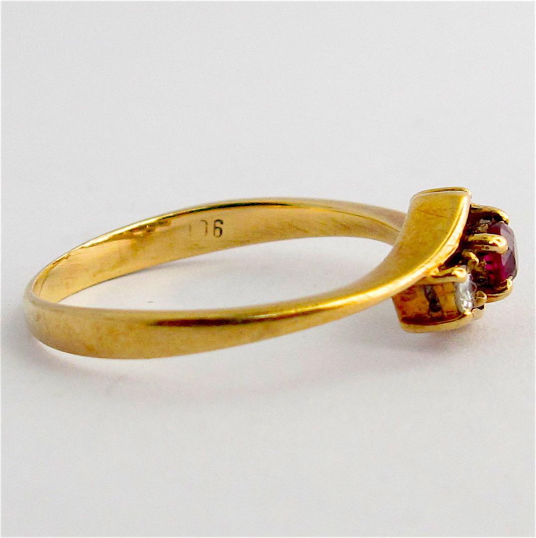 9ct yellow gold natural ruby and diamond set ring image 1