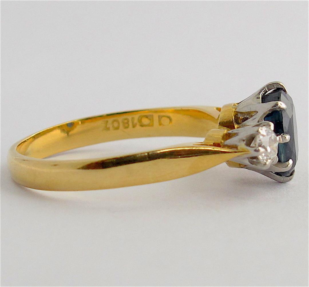 18ct yellow gold and platinum sapphire and diamond ring image 2