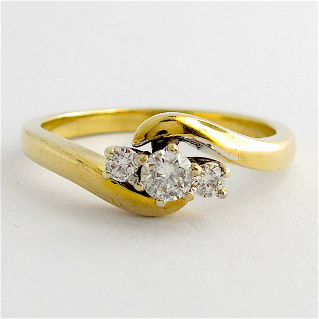 9ct yellow gold set of diamond rings image 1