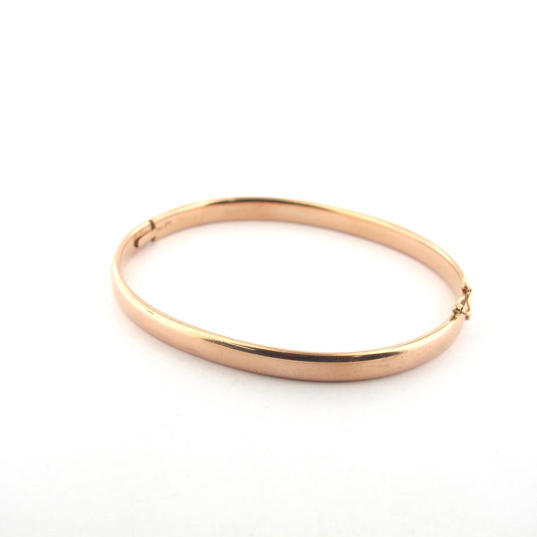 9ct rose gold oval hinged bangle image 0