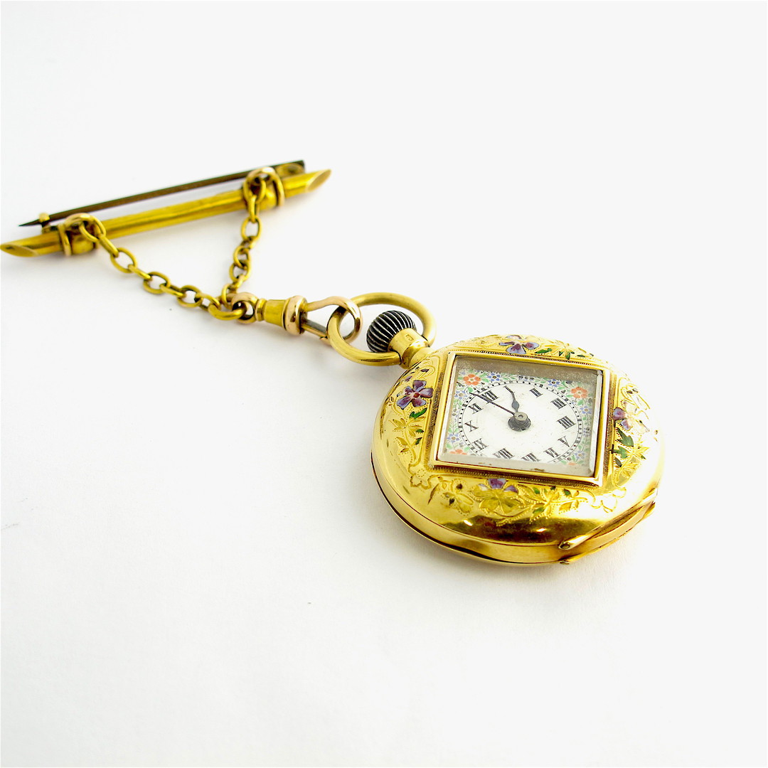 18ct yellow gold & enamel antique pocket watch with a 15ct yellow gold pin and chain image 0