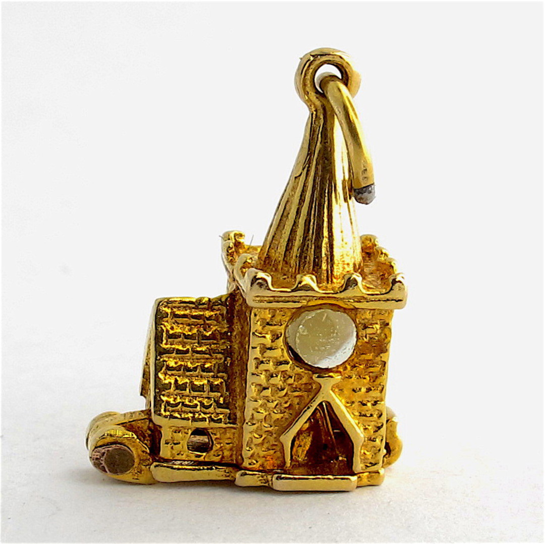 9ct yellow gold church charm - set with The Lords Prayer magnified inside image 0